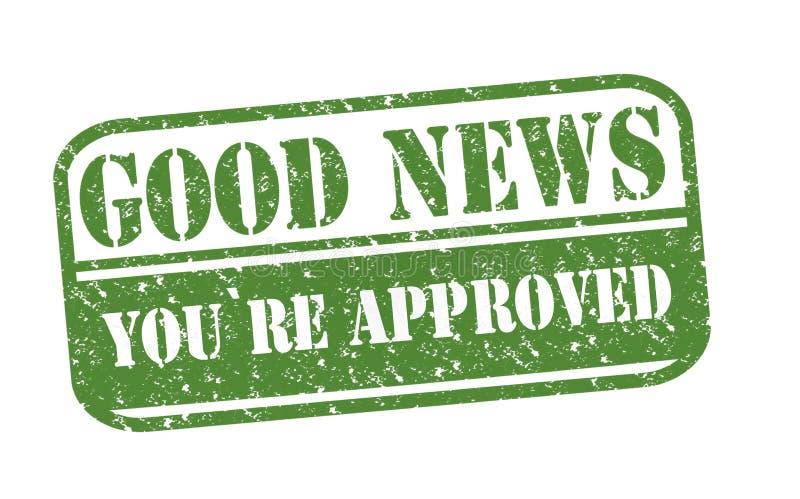 Καλές ειδήσεις σφραγιδών εγκεκριμένες διανυσματική απεικόνιση