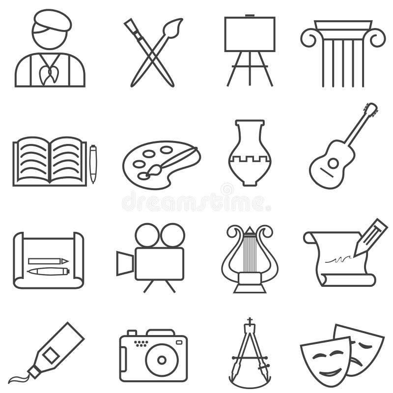 Καλές Τέχνες, ζωγραφική, εικονίδια γραμμών μουσικής απεικόνιση αποθεμάτων