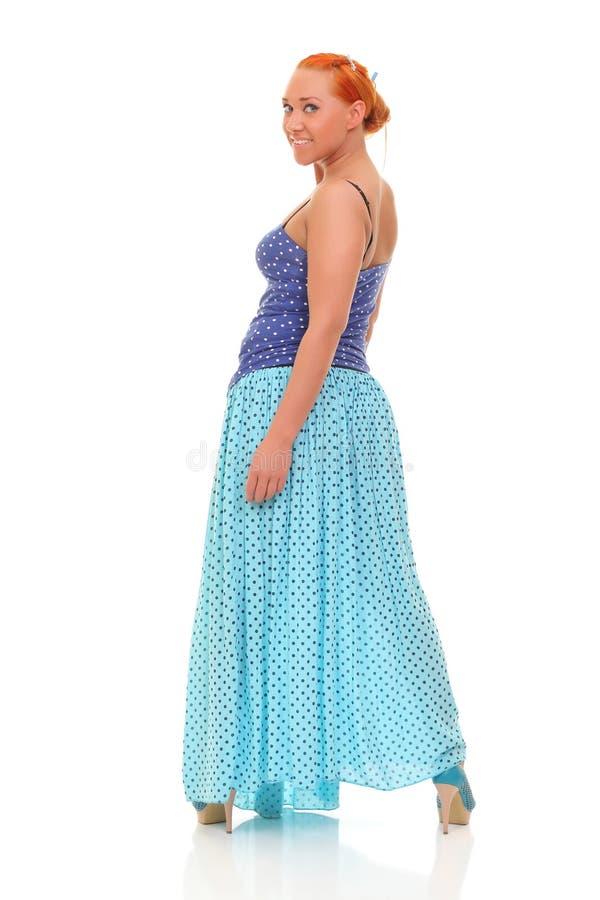 καλές φούστα και μπλούζα ina γυναικών μπλε στοκ εικόνες