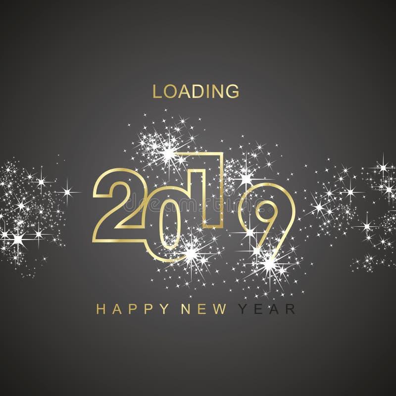 Καλής χρονιάς 2019 φορτώνοντας σπινθήρων εικονίδιο λογότυπων πυροτεχνημάτων χρυσό μαύρο διανυσματικό διανυσματική απεικόνιση