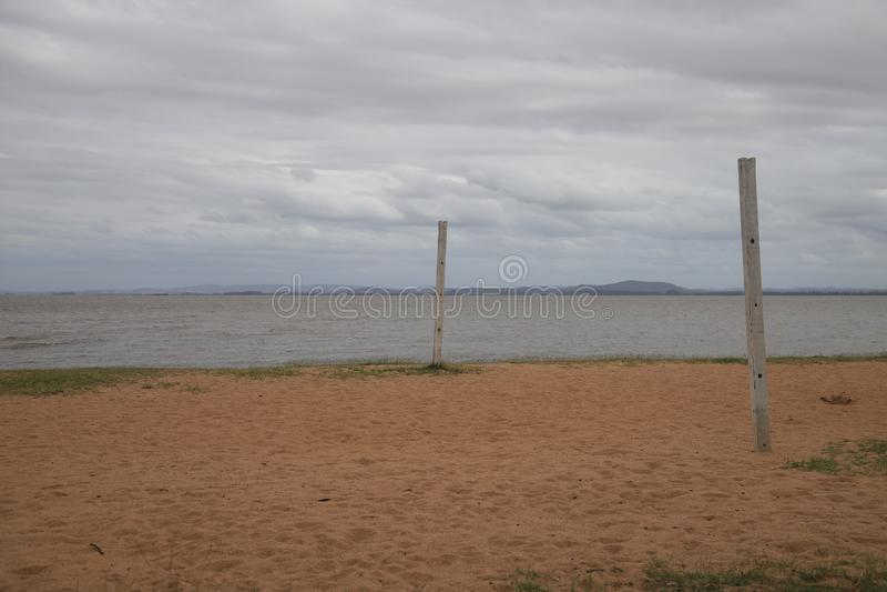 Καλή άποψη σχετικά με την παραλία Ipanema στο Πόρτο Αλέγκρε, Βραζιλία στοκ φωτογραφία