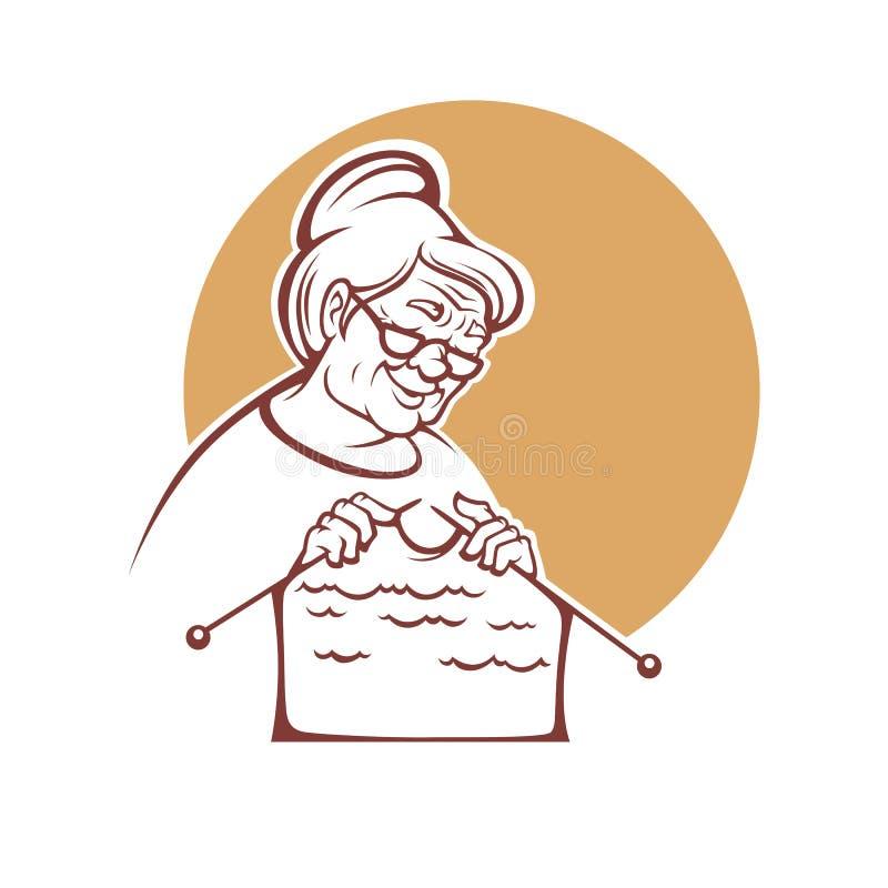 Καλή γιαγιά, ηλικιωμένη κυρία που πλέκει ένα χειροποίητο πουλόβερ, λογότυπο, διανυσματική απεικόνιση