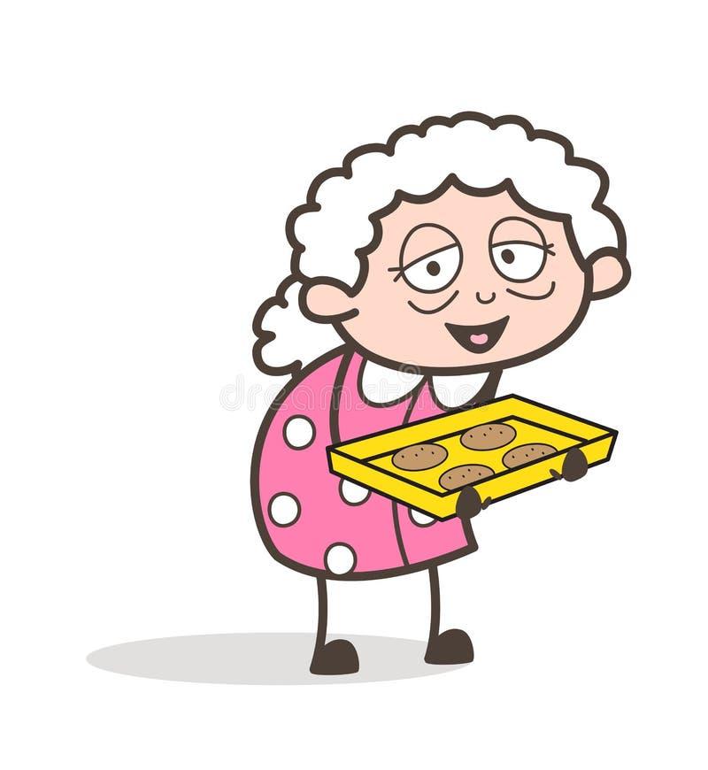 Καλή γιαγιά κινούμενων σχεδίων που παρουσιάζει τη διανυσματική απεικόνιση μπισκότων διανυσματική απεικόνιση