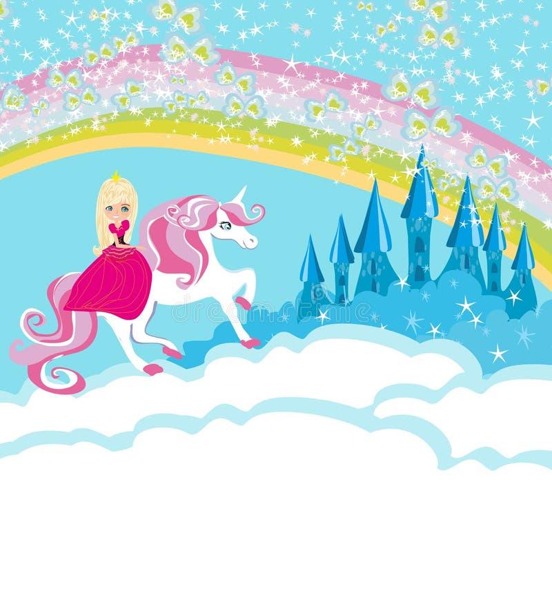 Καλή πριγκήπισσα σε έναν μονόκερο που πετά σε ένα ουράνιο τόξο ελεύθερη απεικόνιση δικαιώματος