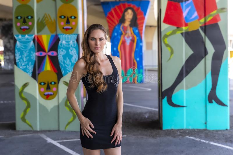 Καλή πρότυπη τοποθέτηση Brunette υπαίθρια ενάντια στα γκράφιτι στοκ εικόνες