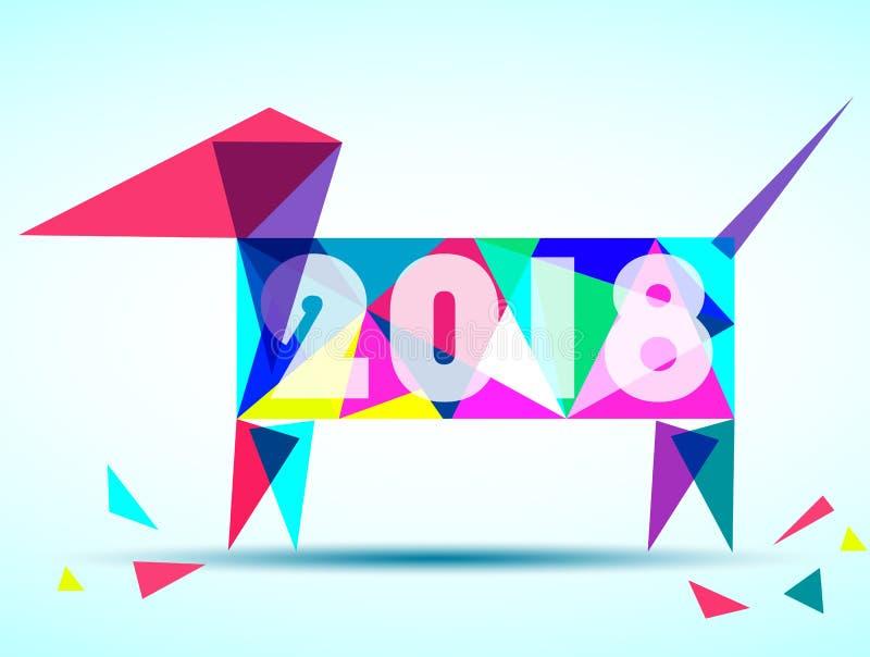 Καλή χρονιά 2018 Έτος σκυλιού Σχέδιο ευχετήριων καρτών Διανυσματικό EPS 10 απεικόνιση αποθεμάτων