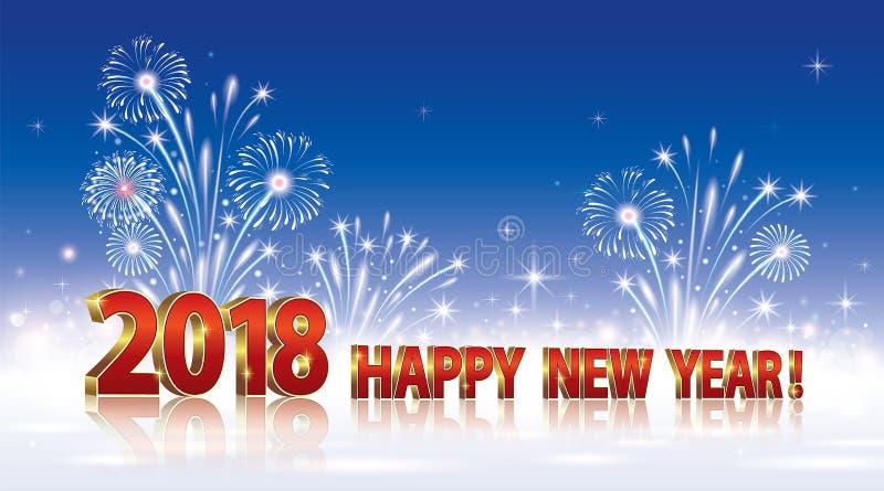 Καλή χρονιά 2018 Ανασκόπηση με τα πυροτεχνήματα απεικόνιση αποθεμάτων