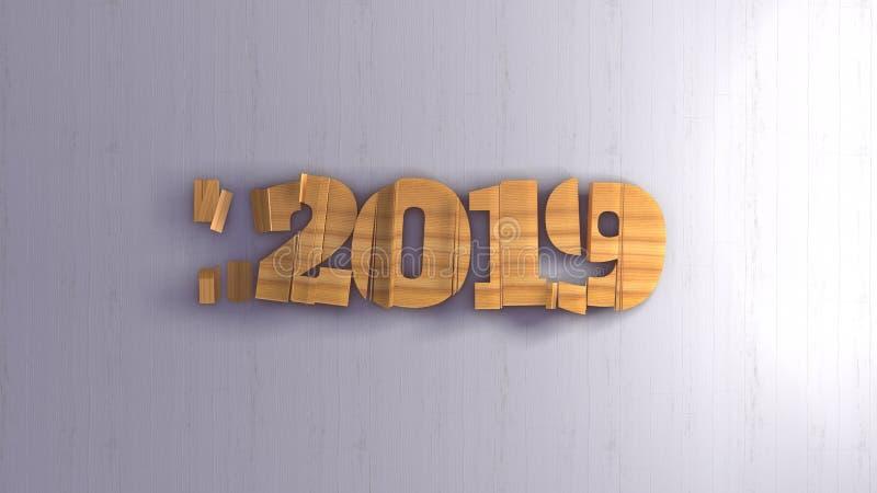 Καλή χρονιά 2019 αριθμοί εγγραφής που γράφεται από το ξύλο στο άσπρο υπόβαθρο εκλεκτικός μακρο πυροβολισμός εστίασης με διανυσματική απεικόνιση