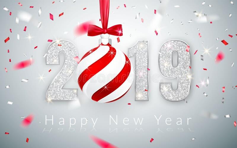 Καλή χρονιά 2019, ασημένιο σχέδιο αριθμών της ευχετήριας κάρτας, μειωμένο λαμπρό κομφετί, σφαίρα Χριστουγέννων με το κόκκινο τόξο ελεύθερη απεικόνιση δικαιώματος