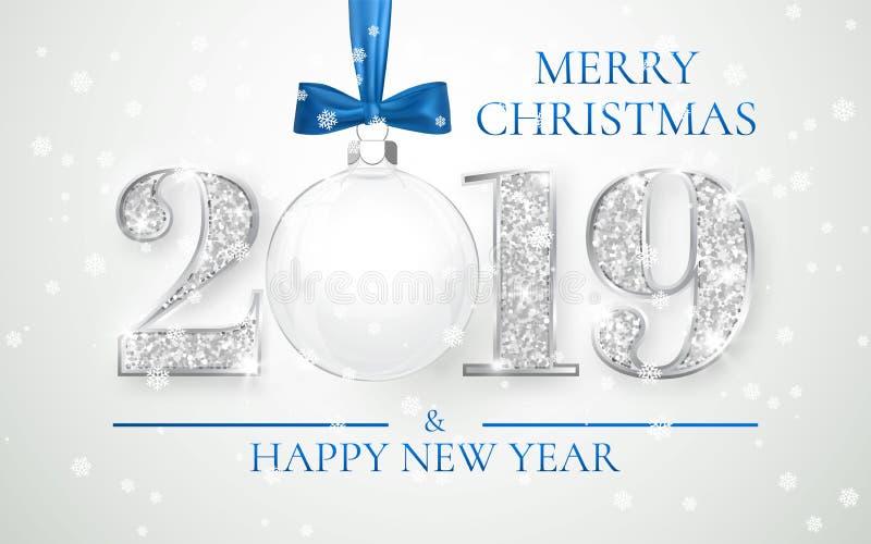 Καλή χρονιά 2019, ασημένιο σχέδιο αριθμών της ευχετήριας κάρτας, σφαίρα Χριστουγέννων με το μπλε τόξο, διανυσματική απεικόνιση απεικόνιση αποθεμάτων
