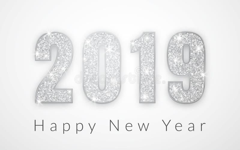 Καλή χρονιά 2019, ασημένιο σχέδιο αριθμών της ευχετήριας κάρτας, διανυσματική απεικόνιση απεικόνιση αποθεμάτων