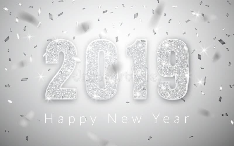 Καλή χρονιά 2019, ασημένιο σχέδιο αριθμών της ευχετήριας κάρτας, διανυσματική απεικόνιση ελεύθερη απεικόνιση δικαιώματος