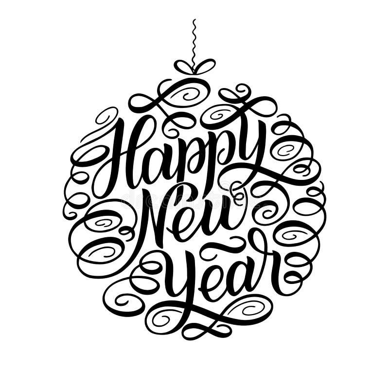 Καλή χρονιά, γράφοντας πλαίσιο κειμένων κύκλων σχεδίου ευχετήριων καρτών επίσης corel σύρετε το διάνυσμα απεικόνισης Σφαίρα παιχν διανυσματική απεικόνιση