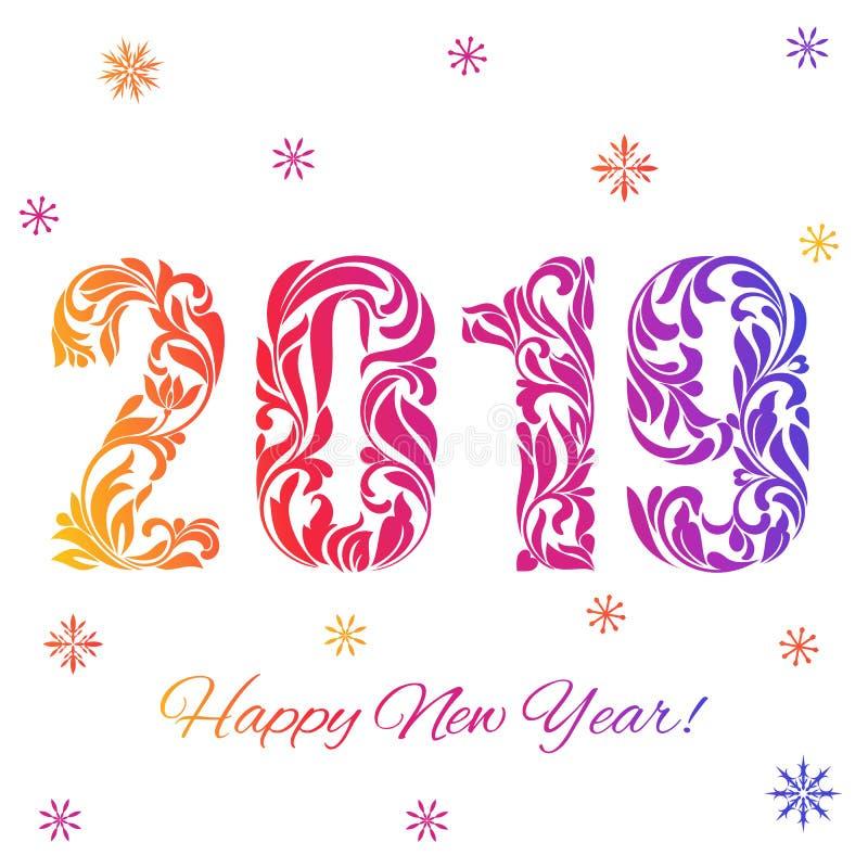 Καλή χρονιά 2019 Διακοσμητική πηγή φιαγμένη από στροβίλους και floral στοιχεία Χρωματισμένοι αριθμοί και snowflakes διανυσματική απεικόνιση