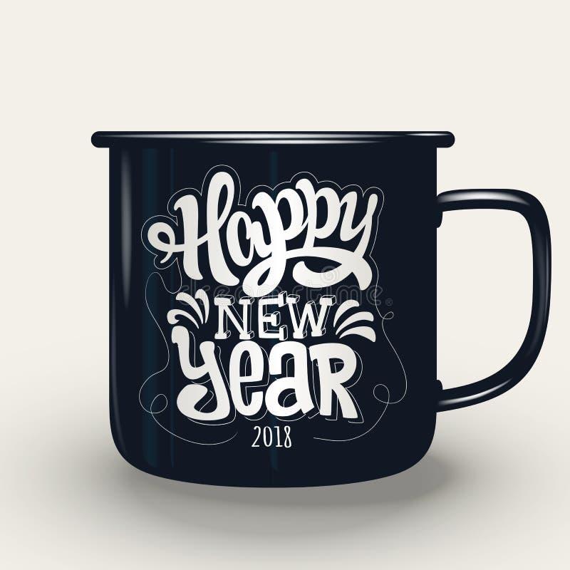 Καλή χρονιά, εγγραφή χεριών στο φλυτζάνι διανυσματική απεικόνιση