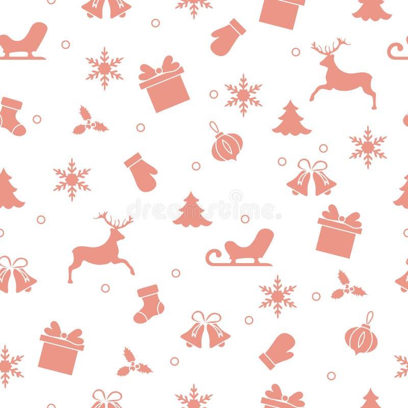 Καλή χρονιά 2019 και άνευ ραφής σχέδιο Χριστουγέννων διανυσματική απεικόνιση
