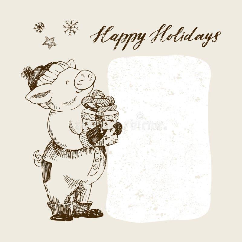 Καλή χρονιά και ευχετήρια κάρτα Χαρούμενα Χριστούγεννας Χαριτωμένος χοίρος στο καπέλο που κρατά ένα δώρο Είναι στο κιβώτιο με ένα ελεύθερη απεικόνιση δικαιώματος