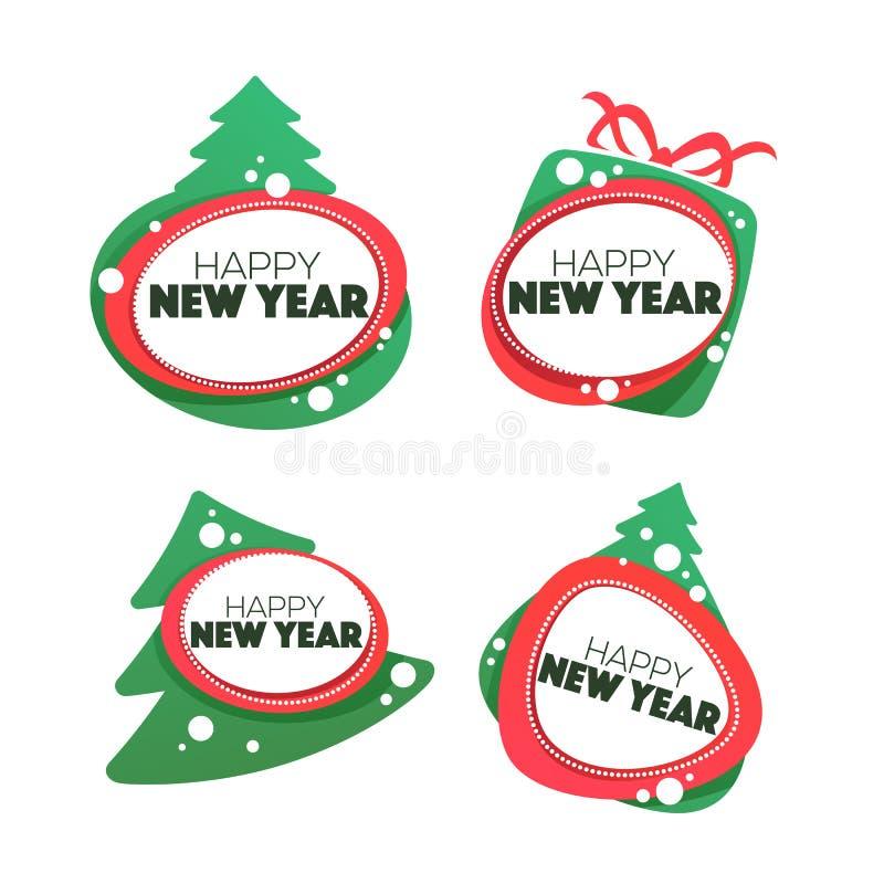 Καλή χρονιά και εύθυμο έμβλημα Chrismas, σύμβολο, ετικέτες, sticke απεικόνιση αποθεμάτων