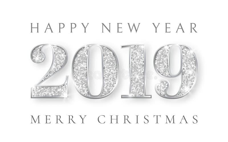 Καλή χρονιά και παντρεύει τα Χριστούγεννα 2019, ασημένιο σχέδιο αριθμών της ευχετήριας κάρτας, Χριστούγεννα, διανυσματική απεικόν ελεύθερη απεικόνιση δικαιώματος