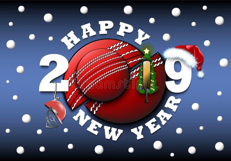 Καλή χρονιά 2019 και σφαίρα γρύλων με το χριστουγεννιάτικο δέντρο, το καπέλο, το ρόπαλο και το κράνος Δημιουργικό σχέδιο σχεδίου  διανυσματική απεικόνιση