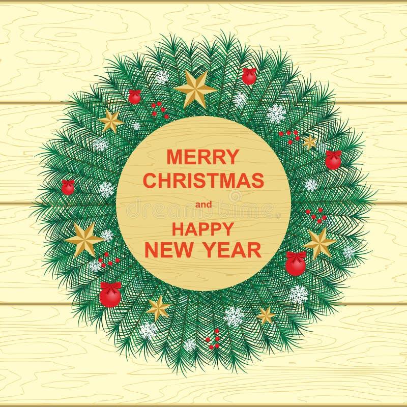 Καλή χρονιά και Χαρούμενα Χριστούγεννα, διανυσματική απεικόνιση, στεφάνι Χριστουγέννων, αστέρια, κόκκινα μούρα για τη διακόσμηση ελεύθερη απεικόνιση δικαιώματος