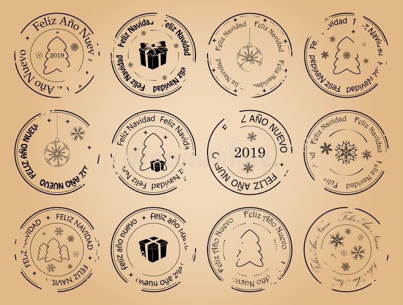 Καλή χρονιά και Χαρούμενα Χριστούγεννα - εκλεκτής ποιότητας διανυσματικά ισπανικά γραμματόσημα ταχυδρομικών τελών ελεύθερη απεικόνιση δικαιώματος