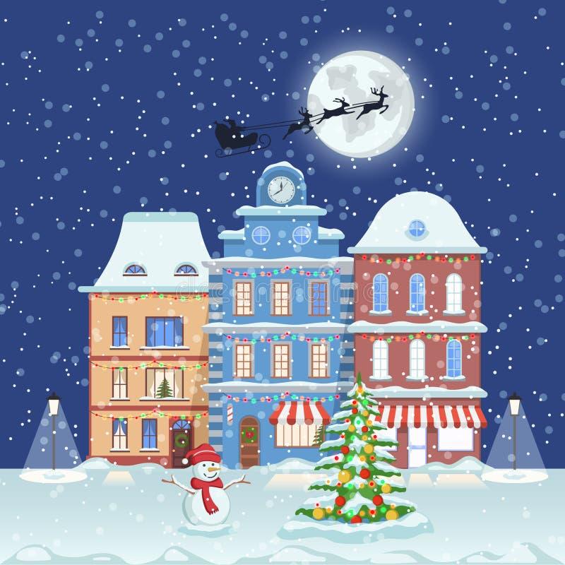 Καλή χρονιά και Χαρούμενα Χριστούγεννα, πόλης οδός χειμερινής νύχτας με το δέντρο έλατου Χριστουγέννων και χιονάνθρωπος επίσης co απεικόνιση αποθεμάτων
