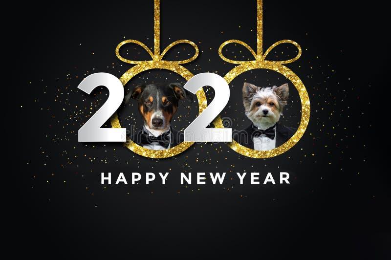Καλή χρονιά 2020 με δύο σκυλιά ελεύθερη απεικόνιση δικαιώματος