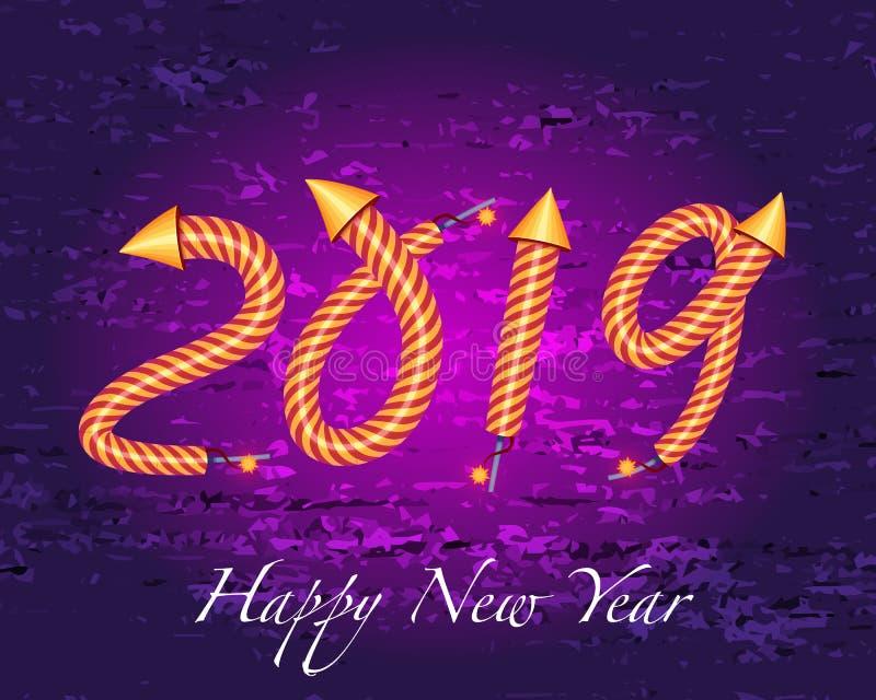 2019 καλή χρονιά με την επίδραση πυροτεχνημάτων πυραύλων διανυσματική απεικόνιση