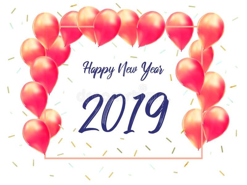 Καλή χρονιά 2019 με τη δημιουργική ρόδινη έννοια μπαλονιών για το διάστημα αντιγράφων Ελάχιστη έννοια πρότυπο εμβλημάτων, ιπτάμεν ελεύθερη απεικόνιση δικαιώματος
