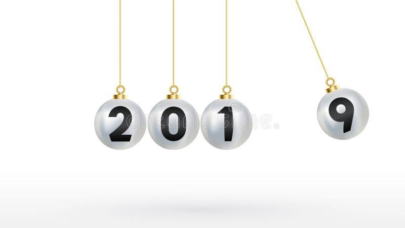 2019 καλή χρονιά με τις σφαίρες Χριστουγέννων χρώματος ή τις αφηρημένες σφαίρες ή τις φυσαλίδες τρισδιάστατο διάστημα αντιγράφων  ελεύθερη απεικόνιση δικαιώματος
