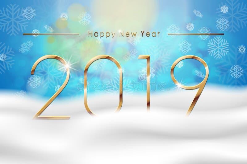 Καλή χρονιά 2019 με το μπλε χειμερινό υπόβαθρο με το χιόνι και snowflakes Πρότυπο σχεδίου ευχετήριων καρτών διάνυσμα διανυσματική απεικόνιση