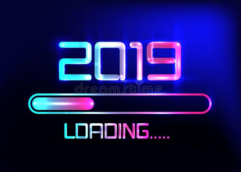 Καλή χρονιά 2019 με το μπλε ύφος νέου εικονιδίων φόρτωσης Φραγμός προόδου που φθάνει σχεδόν στη νέα παραμονή έτους ` s Διανυσματι ελεύθερη απεικόνιση δικαιώματος
