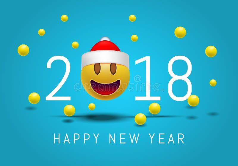 Καλή χρονιά 2018 με το χαριτωμένο πρόσωπο emoji χαμόγελου με ένα καπέλο Άγιου Βασίλη τρισδιάστατο σύγχρονο σχέδιο Smiley Emoji γι στοκ εικόνες