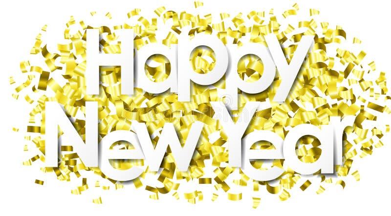 Καλή χρονιά με το χρυσό απομονωμένο κομφετί διάνυσμα ελεύθερη απεικόνιση δικαιώματος