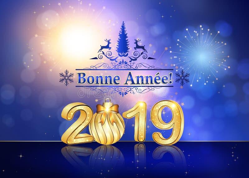 Καλή χρονιά 2019 - μπλε ευχετήρια κάρτα με το γαλλικό κείμενο απεικόνιση αποθεμάτων