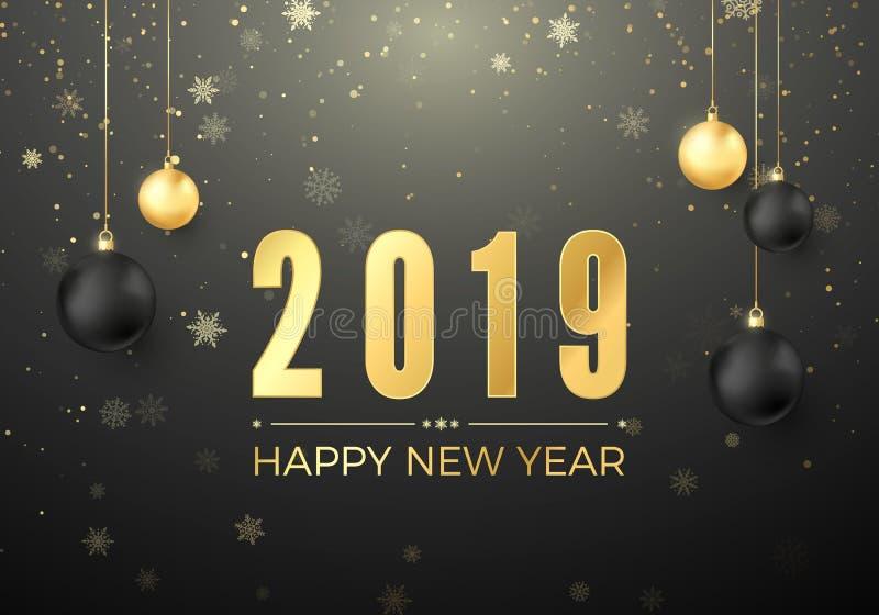 Καλή χρονιά 2019 Νέο στοιχείο διακοσμήσεων έτους και Χριστουγέννων E απεικόνιση αποθεμάτων