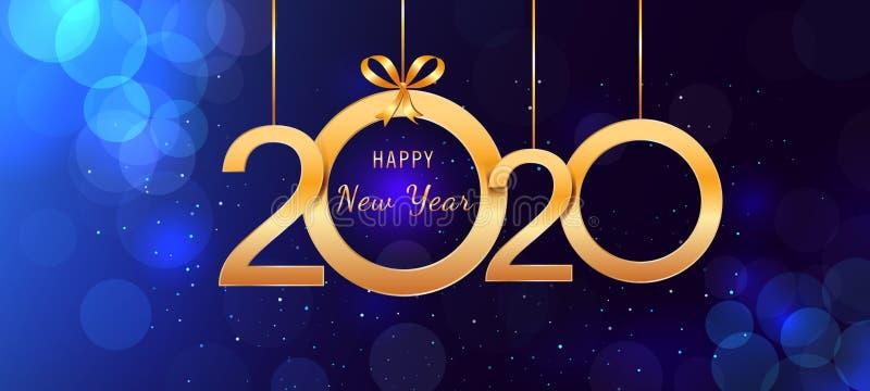 2020 καλή χρονιά που κρεμά τους χρυσούς λαμπρούς αριθμούς με τα τόξα κορδελλών στο αφηρημένο μπλε υπόβαθρο με τα φω'τα και bokeh  απεικόνιση αποθεμάτων