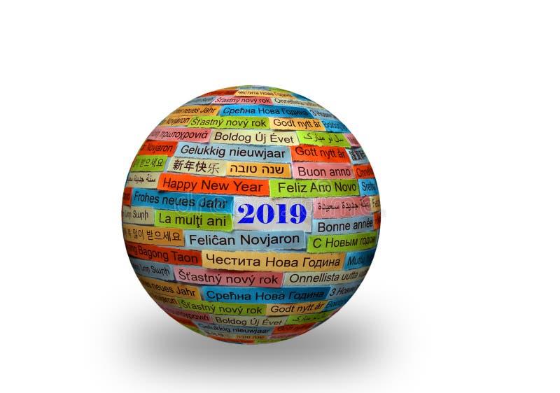 Καλή χρονιά 2019 στις διαφορετικές γλώσσες στην τρισδιάστατη σφαίρα στοκ φωτογραφία με δικαίωμα ελεύθερης χρήσης