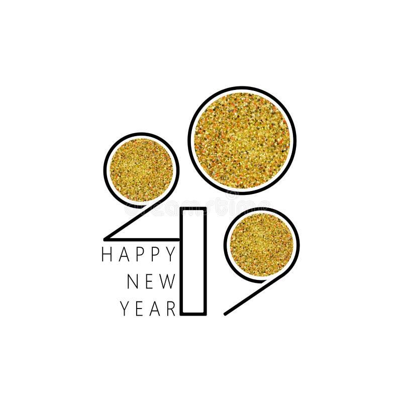 Καλή χρονιά 2019 Σχέδιο αριθμών της ευχετήριας κάρτας ελεύθερη απεικόνιση δικαιώματος