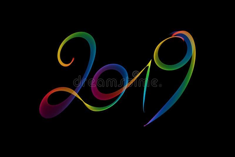 Καλή χρονιά το 2019 απομόνωσε την εγγραφή αριθμών που γράφτηκε με τη φλόγα ή τον καπνό πυρκαγιάς ουράνιων τόξων στο μαύρο υπόβαθρ διανυσματική απεικόνιση