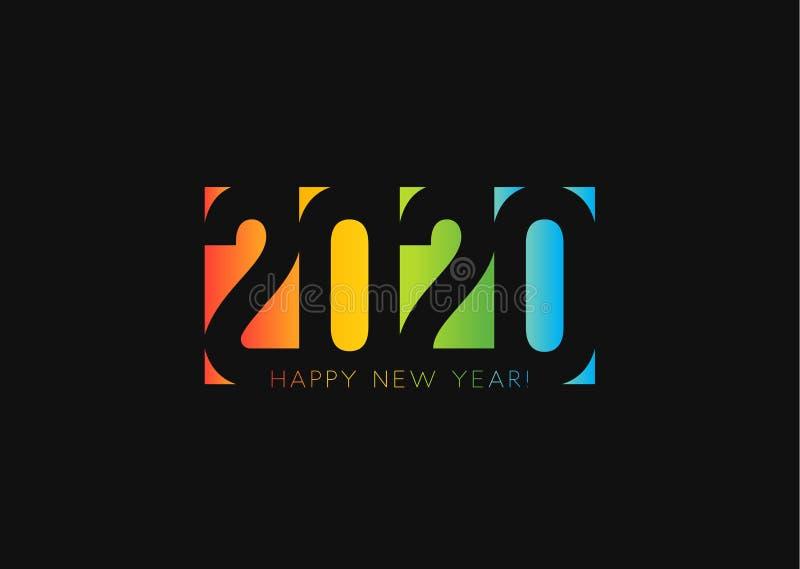 Καλή χρονιά 2020 Το αρνητικό διαστημικό σχέδιο ύφους, αποκόπτει τους αριθμούς από το χρωματισμένο έγγραφο Είκοσι σχέδιο λογότυπων απεικόνιση αποθεμάτων