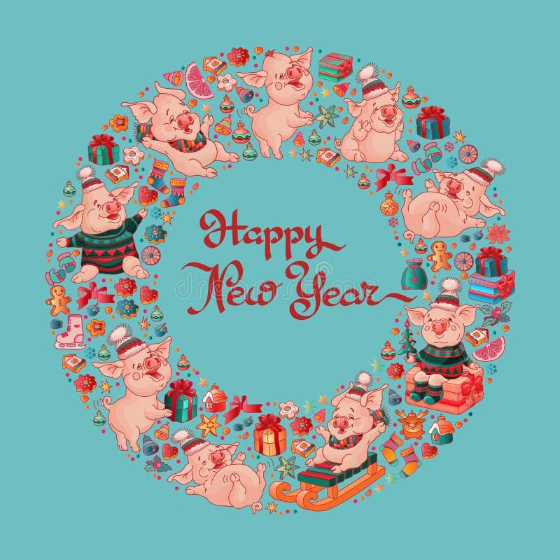 καλή χρονιά Χαριτωμένοι χοίροι και παιχνίδια διάνυσμα ελεύθερη απεικόνιση δικαιώματος