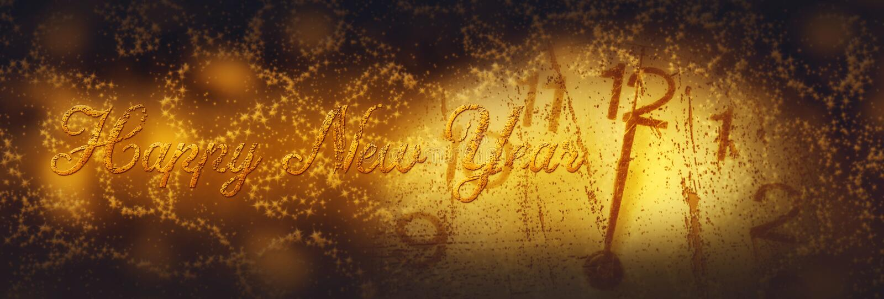 καλή χρονιά Χειμερινός εορτασμός με το ρολόι πινάκων στο νυχτερινό ουρανό στοκ εικόνα