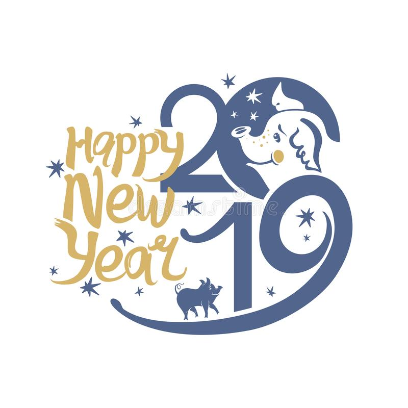 Καλή χρονιά 2019 Χοίροι και αστέρια διανυσματική απεικόνιση
