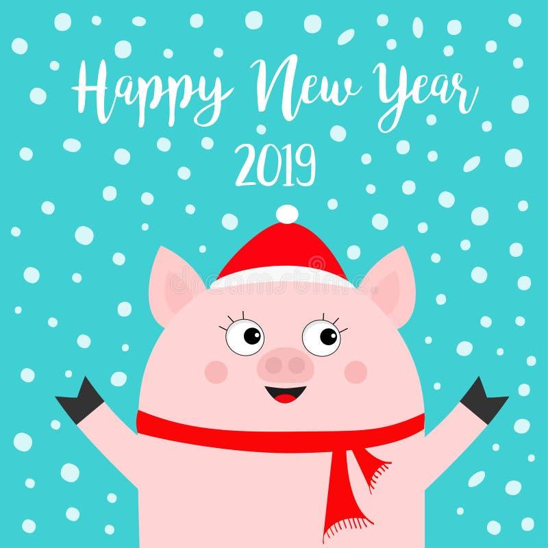 Καλή χρονιά 2019 Χοίρος που φορά το κόκκινο καπέλο, μαντίλι Νιφάδα χιονιού που πέφτει κάτω Σύμβολο Chinise χέρια επάνω Χαριτωμένο ελεύθερη απεικόνιση δικαιώματος
