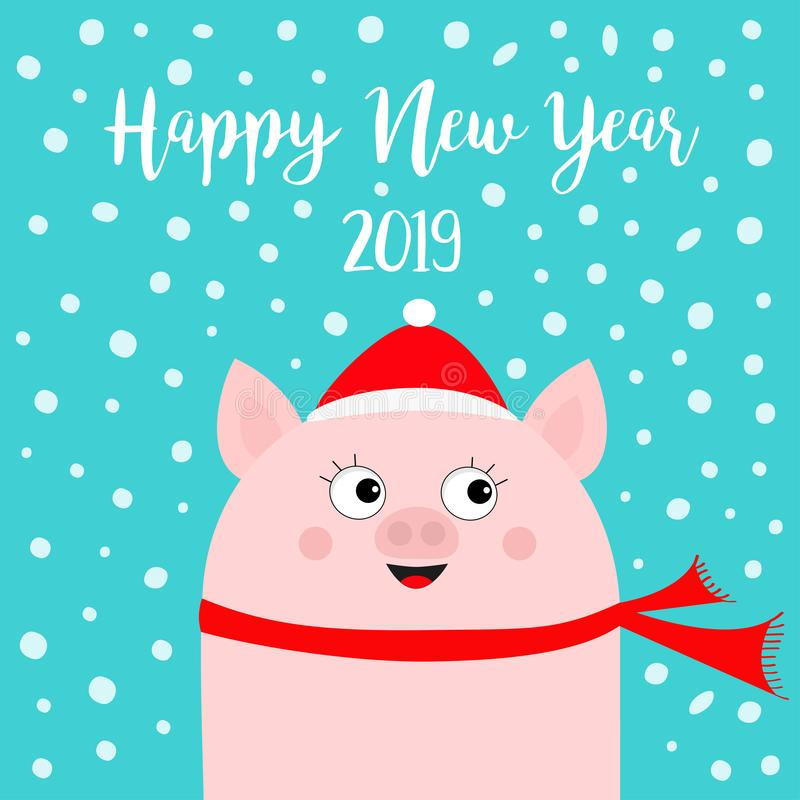 Καλή χρονιά 2019 Χοίρος που φορά το κόκκινο καπέλο, μαντίλι Νιφάδα χιονιού που πέφτει κάτω Σύμβολο Chinise Χαριτωμένος αστείος χα διανυσματική απεικόνιση