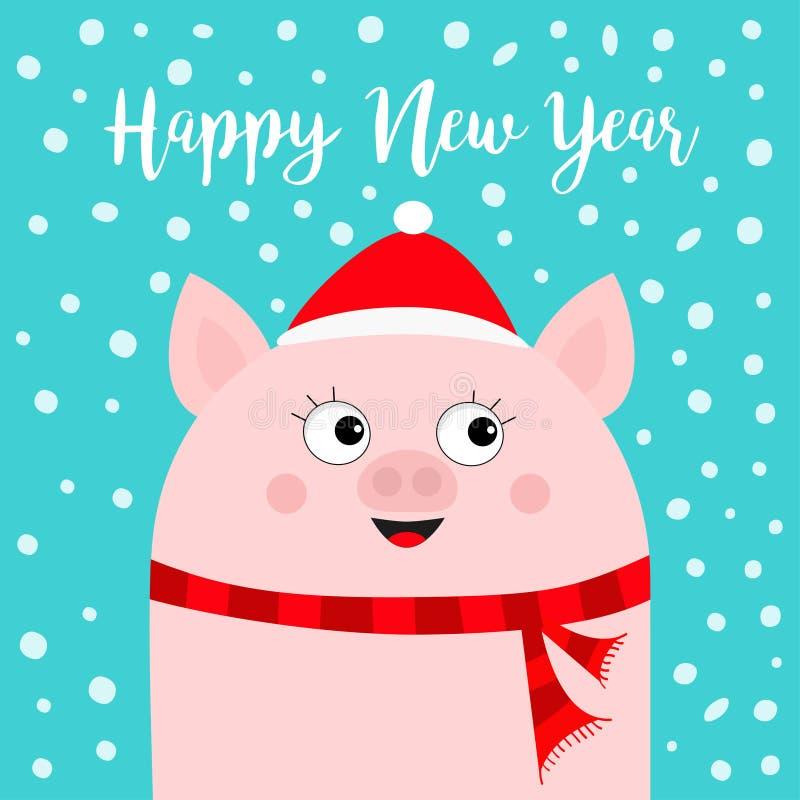 καλή χρονιά Χοίρος που φορά το κόκκινο καπέλο Santa, μαντίλι Νιφάδα χιονιού που πέφτει κάτω Σύμβολο Chinise του 2019 Χαριτωμένος  ελεύθερη απεικόνιση δικαιώματος