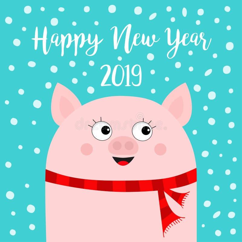 Καλή χρονιά 2019 Χοίρος που φορά το κόκκινο μαντίλι Σύμβολο Chinise χέρια επάνω Νιφάδα χιονιού που πέφτει κάτω Χαριτωμένος αστείο διανυσματική απεικόνιση