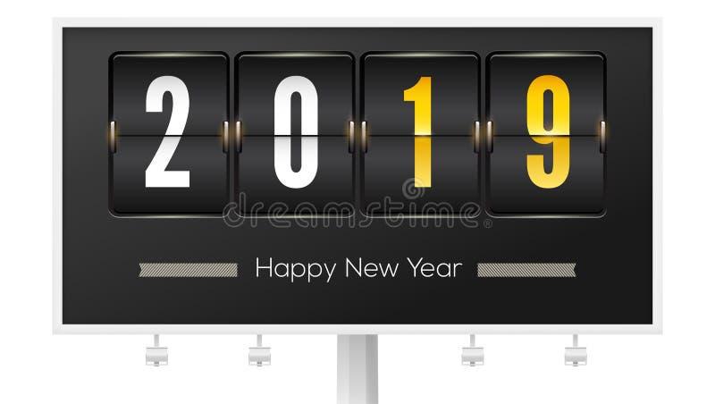 Καλή χρονιά 2019 Χρονοδιάγραμμα αερολιμένων με τον αριθμό το νέο έτος στον πίνακα διαφημίσεων r Μηχανικός πίνακας βαθμολογίας ελεύθερη απεικόνιση δικαιώματος